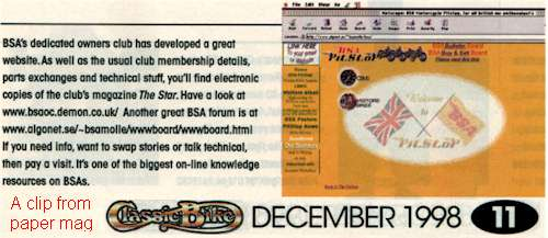 BSA Bulletin Board in Classic Bike 1998