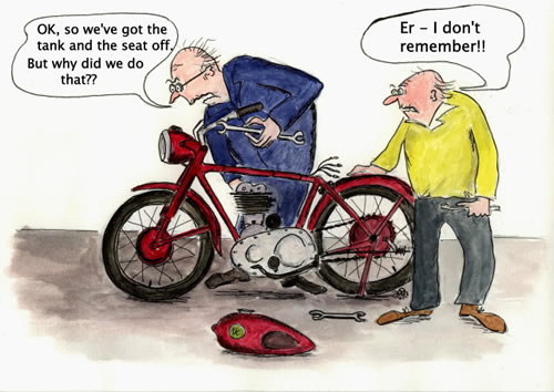 Spider's cartoon - Spider has noticed that short-term memory loss and bad eyesight are the afflictions most annoying to us ancient Britbikers!